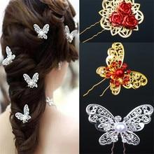 10шт дети цветок головные уборы ручной работы бабочка свадебные ювелирные изделия Headress аксессуары свадебные жемчуг шпильки для невесты