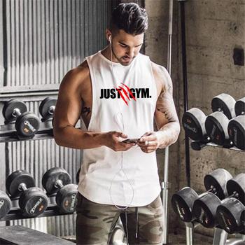 Marka Just odzież sportowa trening koszulka bez rękawów sportowa koszulka bez rękawów mężczyźni kulturystyka fitnessowe bawełniane koszulka męska kamizelka do biegania tanie i dobre opinie FITNESS SHARK CN (pochodzenie) Wiosna AUTUMN summer COTTON Pasuje prawda na wymiar weź swój normalny rozmiar O-neck Sleeveless t shirts