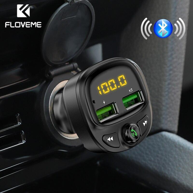 FLOVEME אלחוטי רכב USB מטען Bluetooth FM משדר MP3 נגן הכפול יציאות טלפון מטען TF כרטיס מוסיקה HandFree לרכב