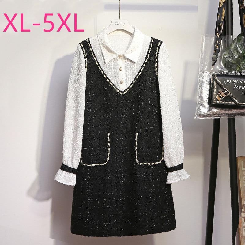 2020 spring autumn plus size mini dress for women large loose casual long sleeve straight lapel shirt dresses black 3XL 4XL 5XL