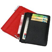 Large Wide Genuine Leather ID Card Holder Zipper Business Bank Credit Card ID Holder pocket Custom Gold Silver Engrave NAME LOGO