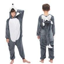 Husky animal crianças flanela completa onesie uma peça com capuz poliéster pijama plus size inverno macacão crianças unicórnio pijama