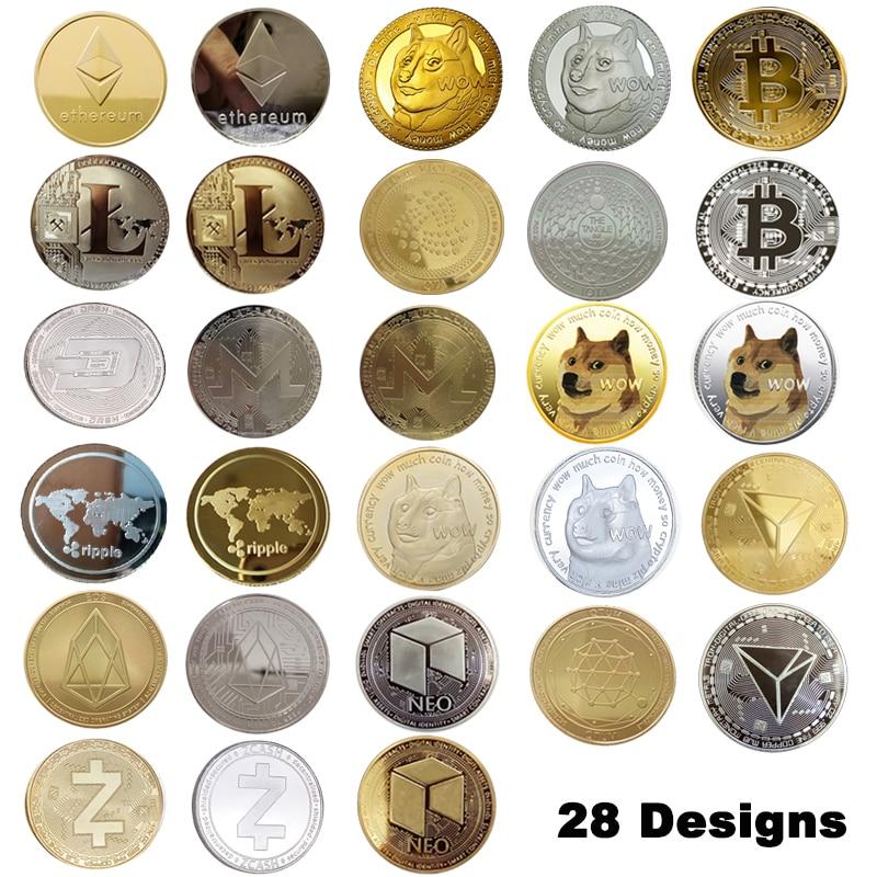 28 дизайнов цвета: золотистый, Серебристый покрытием крипто монеты Биткойн/эфириума/Litecoin/приборной панели/пульсация/монеро/EOS Металл физиче...