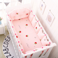 5pcs Cotton Crib Baby Bedding Nordic Style Children's Bumper Around Cot Removable And washable Baby Bed Protector Room Decor