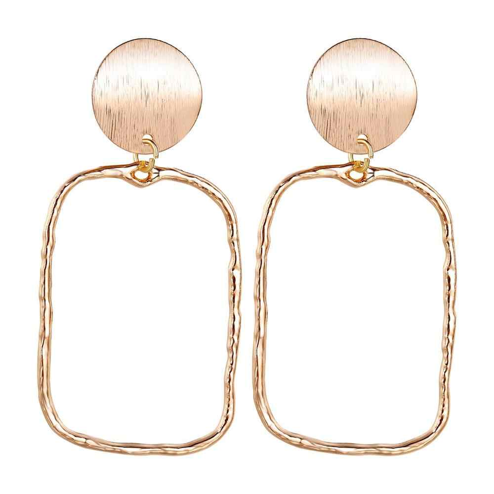 Chandler Gold Color Rectangle Earring Statement Jewelry Retro Drop-Earrings Party-Accessories Geometry Dangle Za Party Jewelry