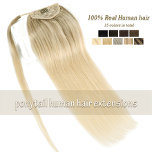 ZURIA Ponytail Human Hair Extensions Clip In Brown Blonde Color Brazilian Hair 12