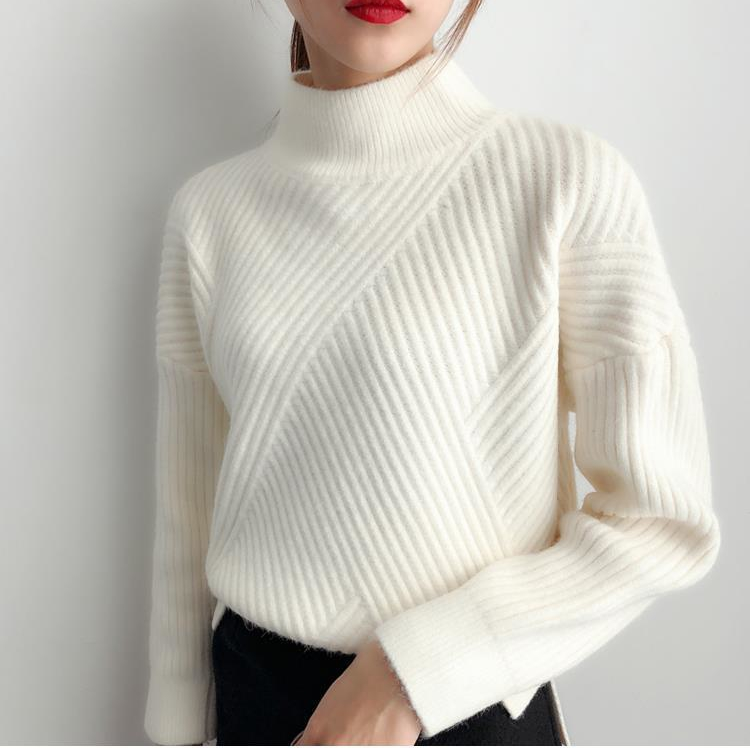 H.SA Women Winter Sweater Turtleneck Pullovers Vertical Solid Knit Pull Jumpers Beige Warm Thick Turtleneck Pull Femme 2019