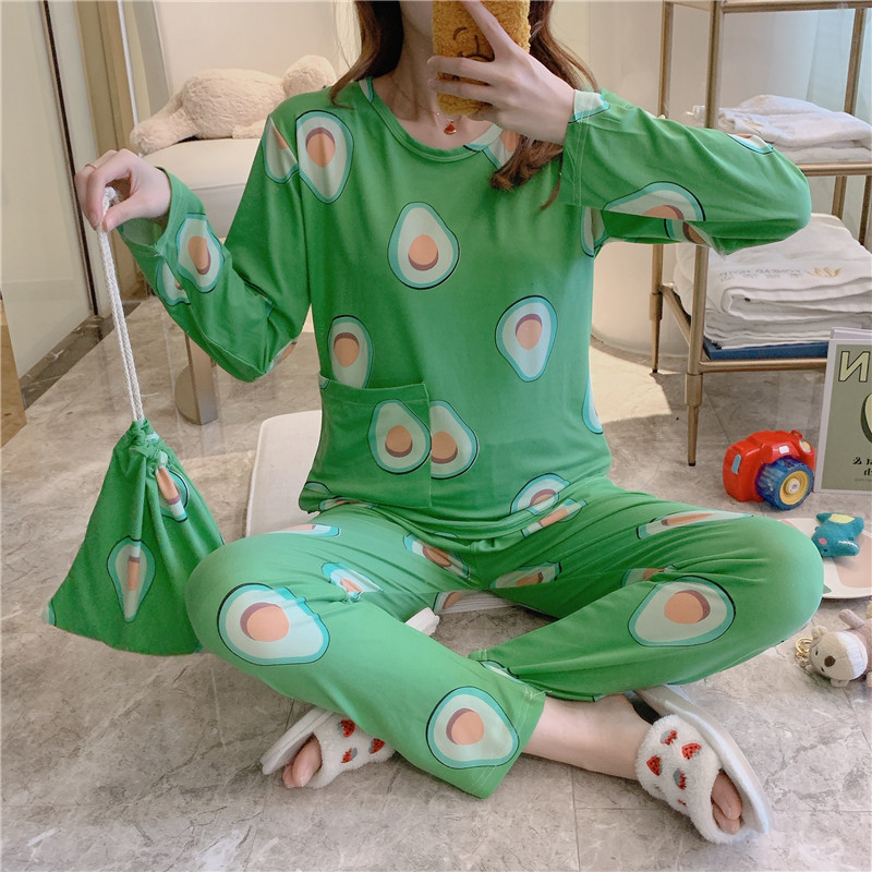 2020 Spring New Arrival Fashion Pajamas For Women Long Sleeve And Trousers Pajama Sets With Avocado On Them Loose Comfort Suits