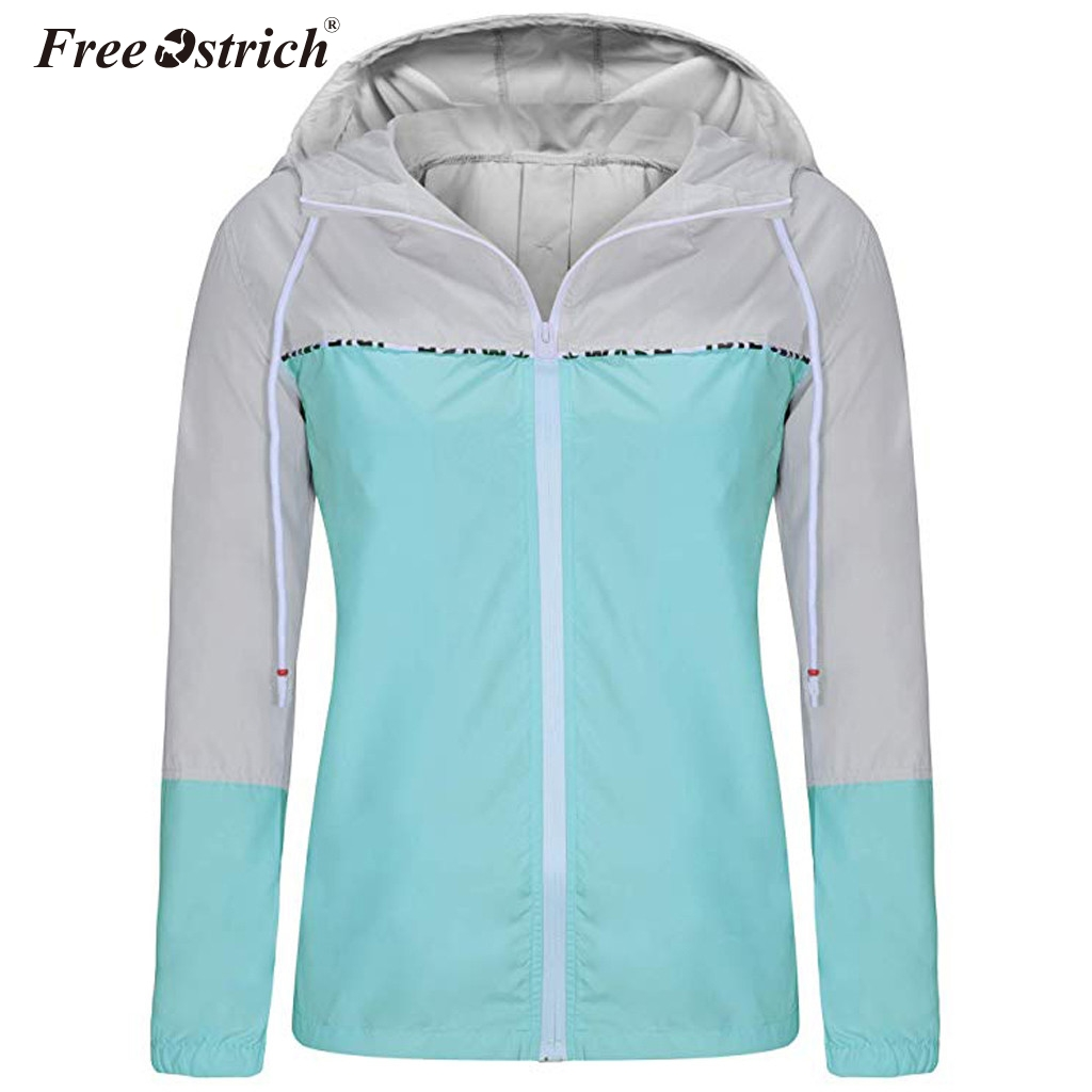 Free Ostrich Women Hooded Patchwork   Jacket   Female Multicolor Windbreaker Spring Autumn   Basic     Jackets   Coats Streetwear N30