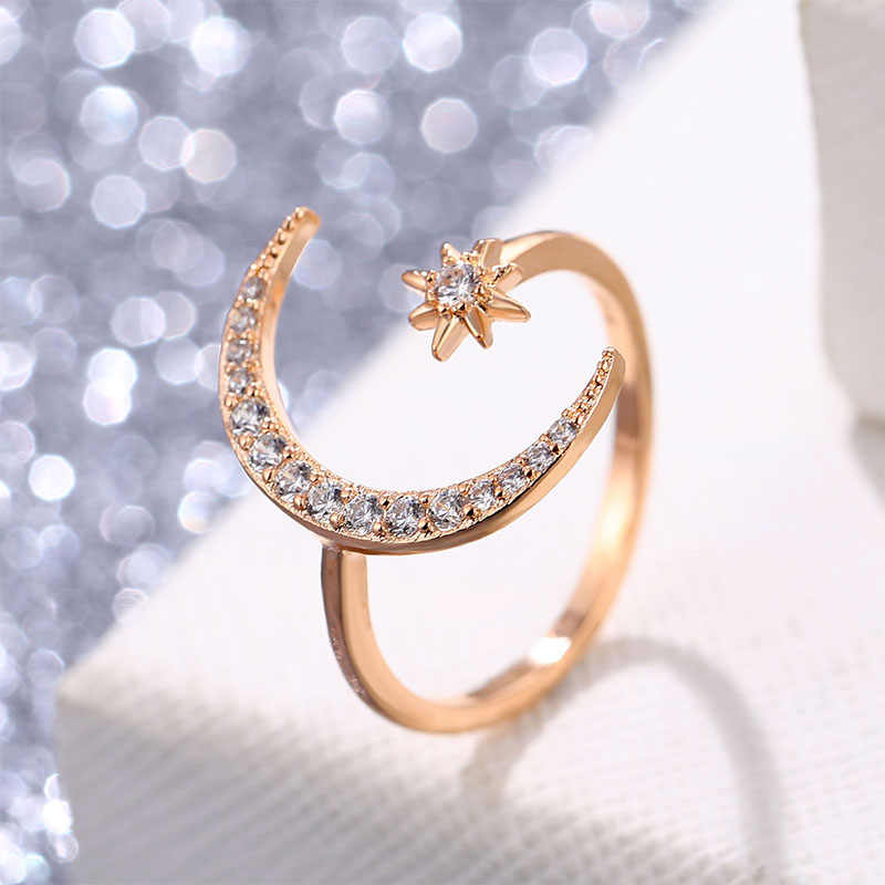 Vienkim 2019 חדש אופנה מתכוונן קריסטל טבעת ירח & כוכב מסנוור פתוח אצבע טבעות נשים ילדה חתונה אירוסין תכשיטים