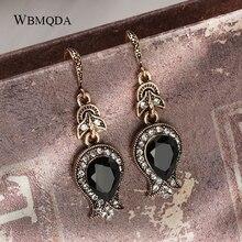 Wbmqda черная каменная капля серьги для женщин Античный Золотой каплевидный кристалл свадебные серьги Винтажные Ювелирные изделия рождественские подарки