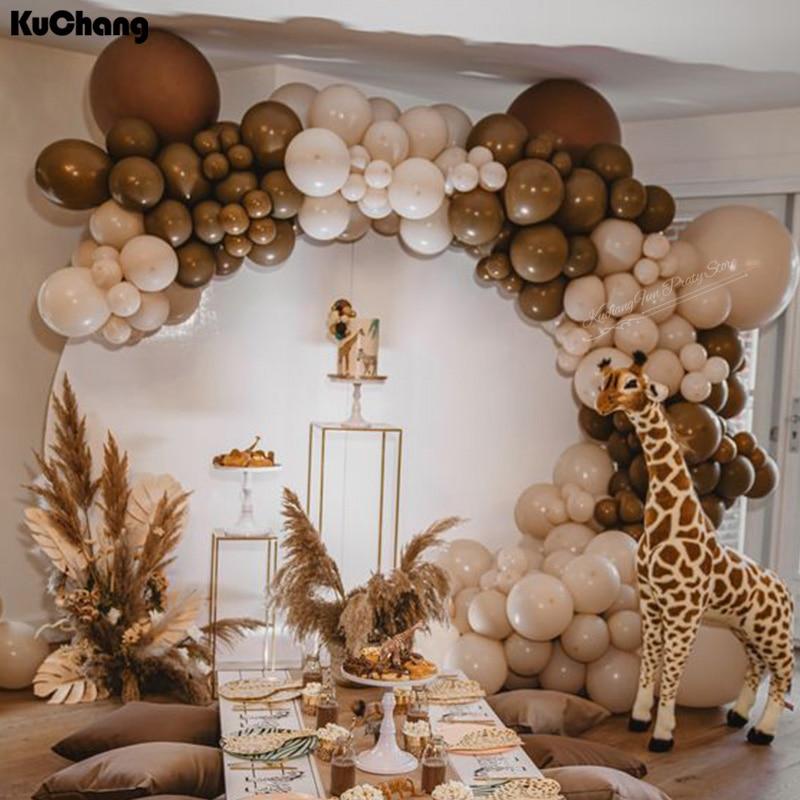 136 шт./компл. двойные кофейные воздушные шары-гирлянды для дня рождения, свадьбы, арки, двойные латексные воздушные шары, вечерние украшения ...