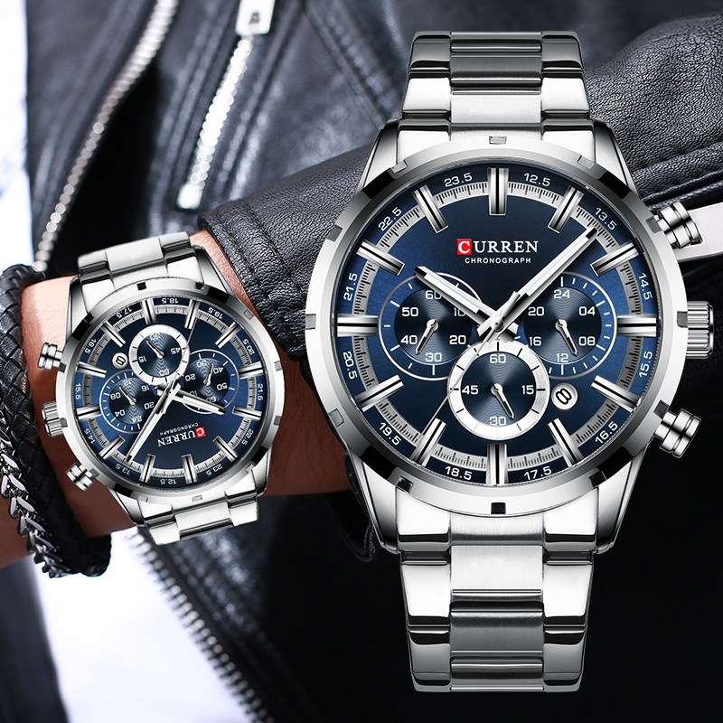 New CURREN Top Brand Luxury Fashion Mens Watches Stainless Steel Chronograph Quartz Watch Men Sport Male Clock Relogio Masculino