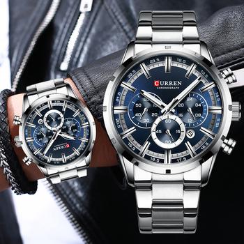 Nowy CURREN Top marka luksusowa moda męskie zegarki chronograf ze stali nierdzewnej kwarcowy zegarek mężczyźni Sport mężczyzna zegar Relogio Masculino tanie i dobre opinie 24cm QUARTZ NONE 3Bar Zapięcie bransolety CN (pochodzenie) STOP 13mm Hardlex Kwarcowe zegarki STAINLESS STEEL 47mm CUR8355-SBE