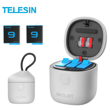 TELESIN 3Pack Battery 1750mAh For GoPro 9 3 Slots Charger TF Card Reader Storage Charging Box for GoPro Hero 9 Black
