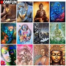 HOMFUN – peinture diamant «bouddha religieux», perceuse carrée ou ronde, décor mural, résine incrustée, broderie artisanale, point de croix