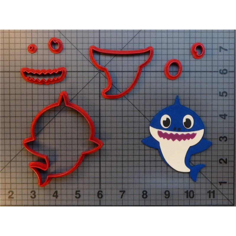 Cute Shark Full Body Cupcake Mould Fondant 3D-print Cookie Cutter Set