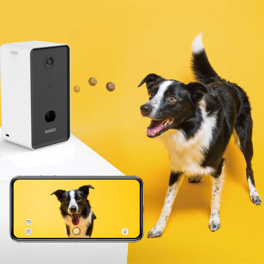 Iseebiz Dog Camera Treat Dispenser WiFi Remote Pet Camera With Two-Way Audio And Night Vision Automatic Pet Feeder Dispenser