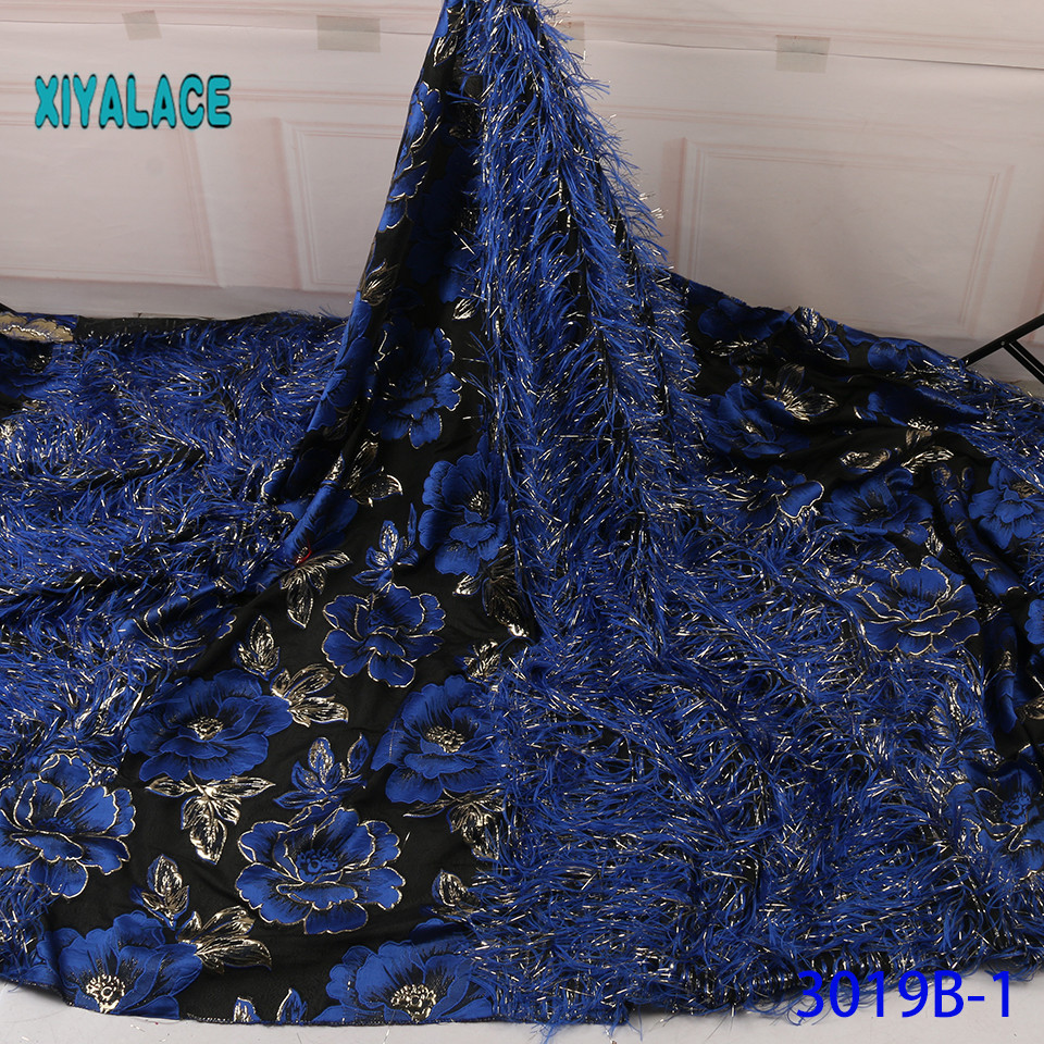 African Lace Fabric With The Horse's Tail 2019 High Quality French Tulle Lace Swiss Lace Fabric For Woman Dresses YA3019B-1