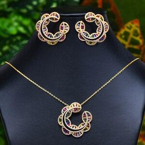 Image 1 - GODKI Sunflower Charms 2PC Nigerian Necklace Earring Jewelry Set For Women Wedding Cubic Zircon Indian Dubai Bridal Jewelry Sets