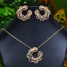 GODKI Sunflower Charms 2PC nigeryjczyk zestaw biżuterii naszyjnik kolczyk dla kobiet ślub Cubic cyrkon Indian Dubai biżuteria dla nowożeńców zestawy