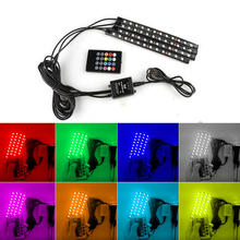 1 Set Car LED RGB DRL Strip Light Car Auto Remote Voice Control Interior Floor Decorative Flexible LED Strip Atmosphere Fog Lamp 4pcs hot rgb 12led car interior atmosphere neon light strip wireless remote control led lamp auto car decorative bulb
