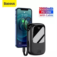 Baseus 20W Mini Power Bank 20000 mAh cavi integrati PowerBank caricabatterie esterno per iPhone 12 11 Xiaomi Samsung Huawei