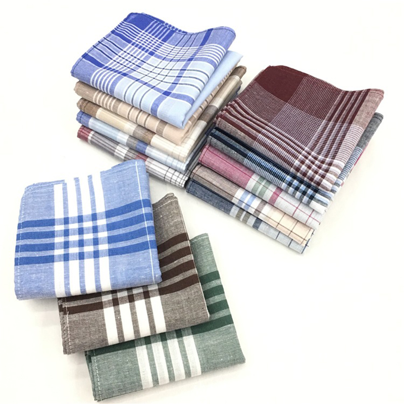 3Pcs/lot Square Plaid Stripe Handkerchiefs Men Classic Vintage Pocket Hanky Pocket Cotton Towel For Wedding Party 40*40cm Random
