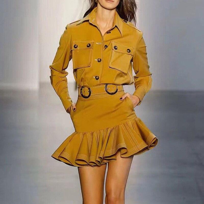 Jupe à volants costumes femmes col rabattu manches longues grande poche chemise avec Mini jupes hautes OL costume 2019 automne