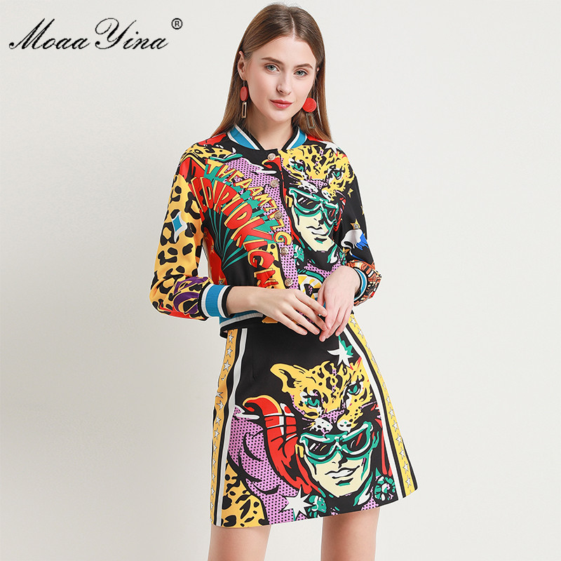 MoaaYina 2018 Fashion Designer Set Autumn Women Long sleeve Abstract Print Elegant short jacket Tops+Sexy Mini Skirt Suit