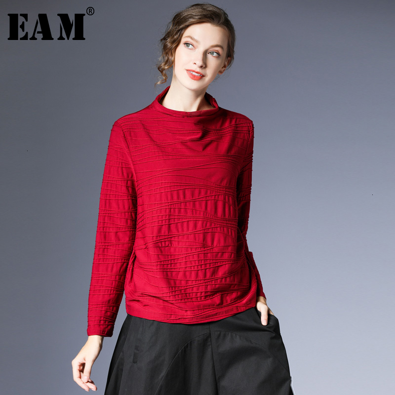 [EAM] femmes multicolore bref point de ligne grande taille T-shirt nouveau col haut manches longues mode marée printemps automne 2019 1D278