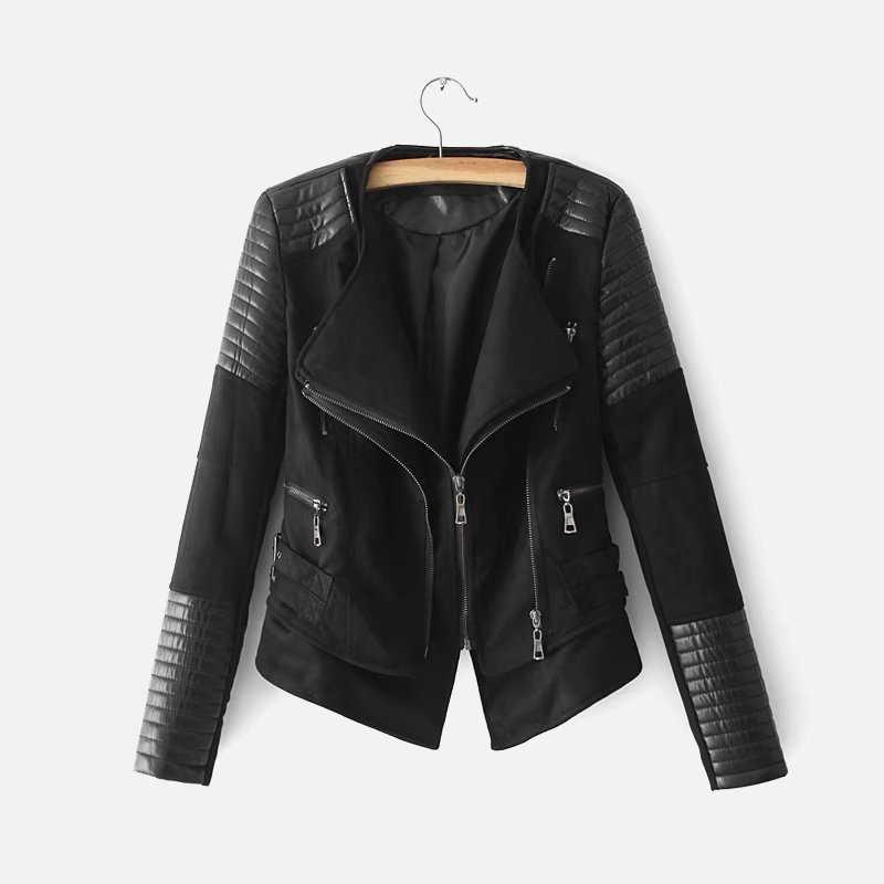 가짜 가죽 스웨이드 스플 라이스 여성 자켓 탑 블랙 PU 오토바이 지퍼 여성 코트 봄 가을 솔리드 캐주얼 레이디 겉옷