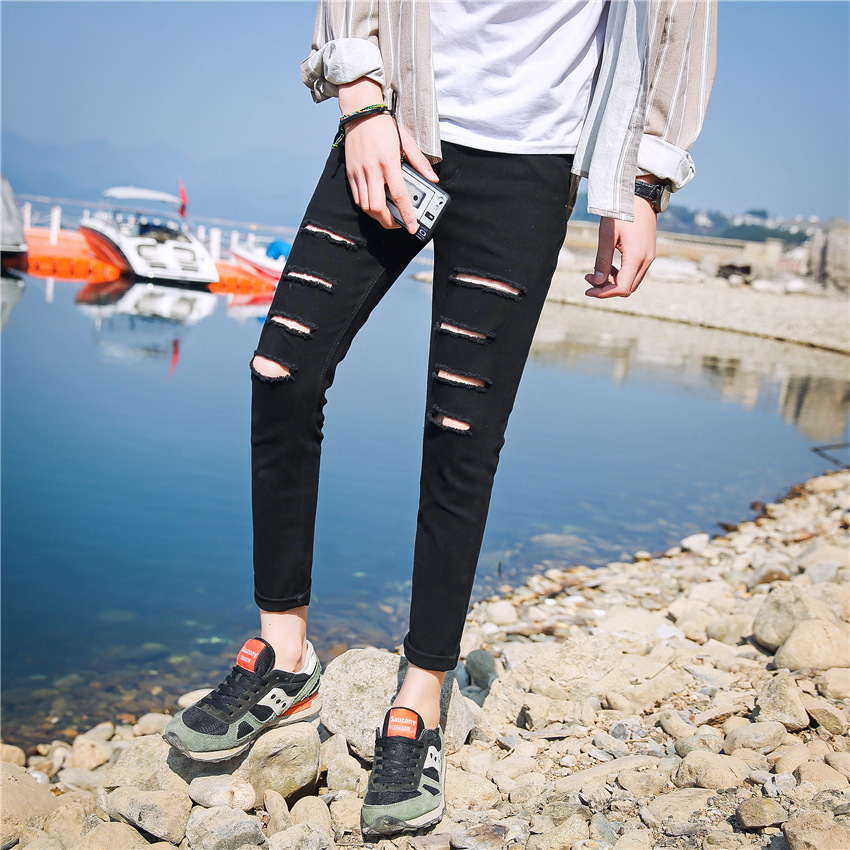 New Products Men's Jeans Korean-style Skinny Harem Pants Trend Of Fashion Teenager Slim Fit Black Ripped Jeans