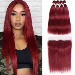 Image 2 - 99J/bordo insan saçı demetleri ile Frontal 13x4 ön renkli brezilyalı düz saç örgü demetleri kapatma olmayan Remy KEMY