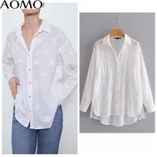 AOMO fashion women embroidery solid cotton shirts long sleev