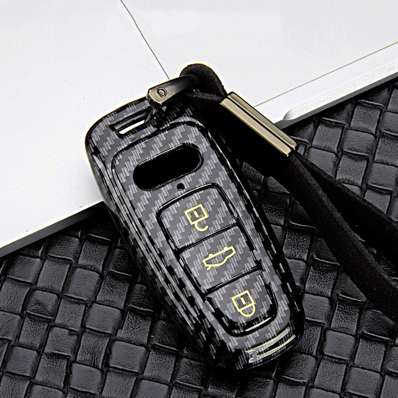 lowest price 2020 Car Key Cover New ABS Carbon fiber Covers For Audi A1 A3 A4 A5 A6 A7 A8 B9 Quattro TT TTS 8S Q3 Q5 Q7 2009-2017 Ring