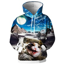 Cloudstyle 3D Full Printed Mens Hoodies Cute Astronaut Cat Animal Sweatshirts Hooded Pullovers Funny Streetwear S-5XL