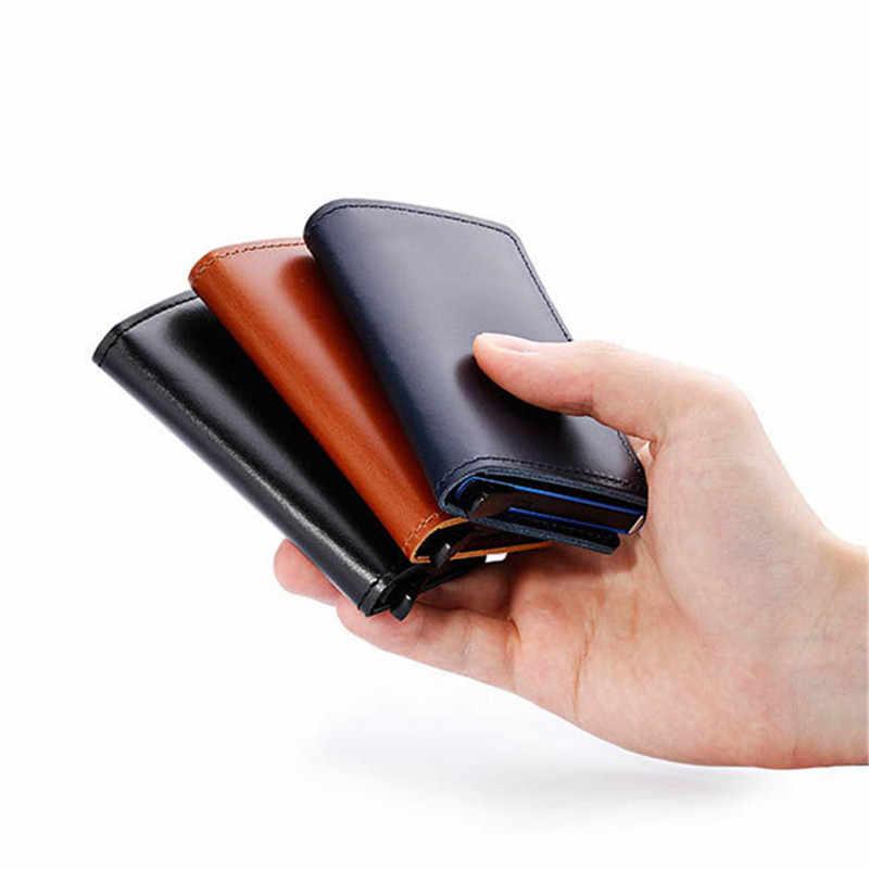 BISI GORO Nieuwe Echt Lederen Portemonnee Slanke Visitekaarthouder RFID Blocking Mini Purse Vintage Anti-diefstal Mini Dunne card Wallet