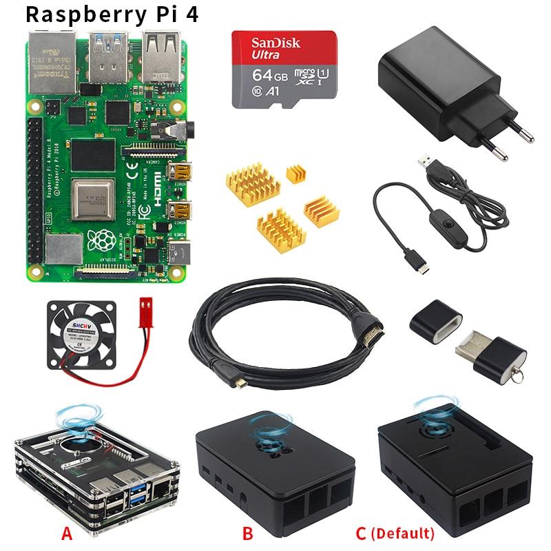 Original Raspberry Pi 4 Model B Starter Kit Case + Power Adapter + HDMI Cable + HeatSink + 16/32/64GB SD Card For Raspberry Pi 4