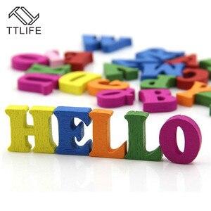 Image 3 - Rompecabezas educativo de madera para niños, juguete de alfabeto, letras de Scrabble, coloridas letras decorativas, números, manualidades, bricolaje, 100 Uds.