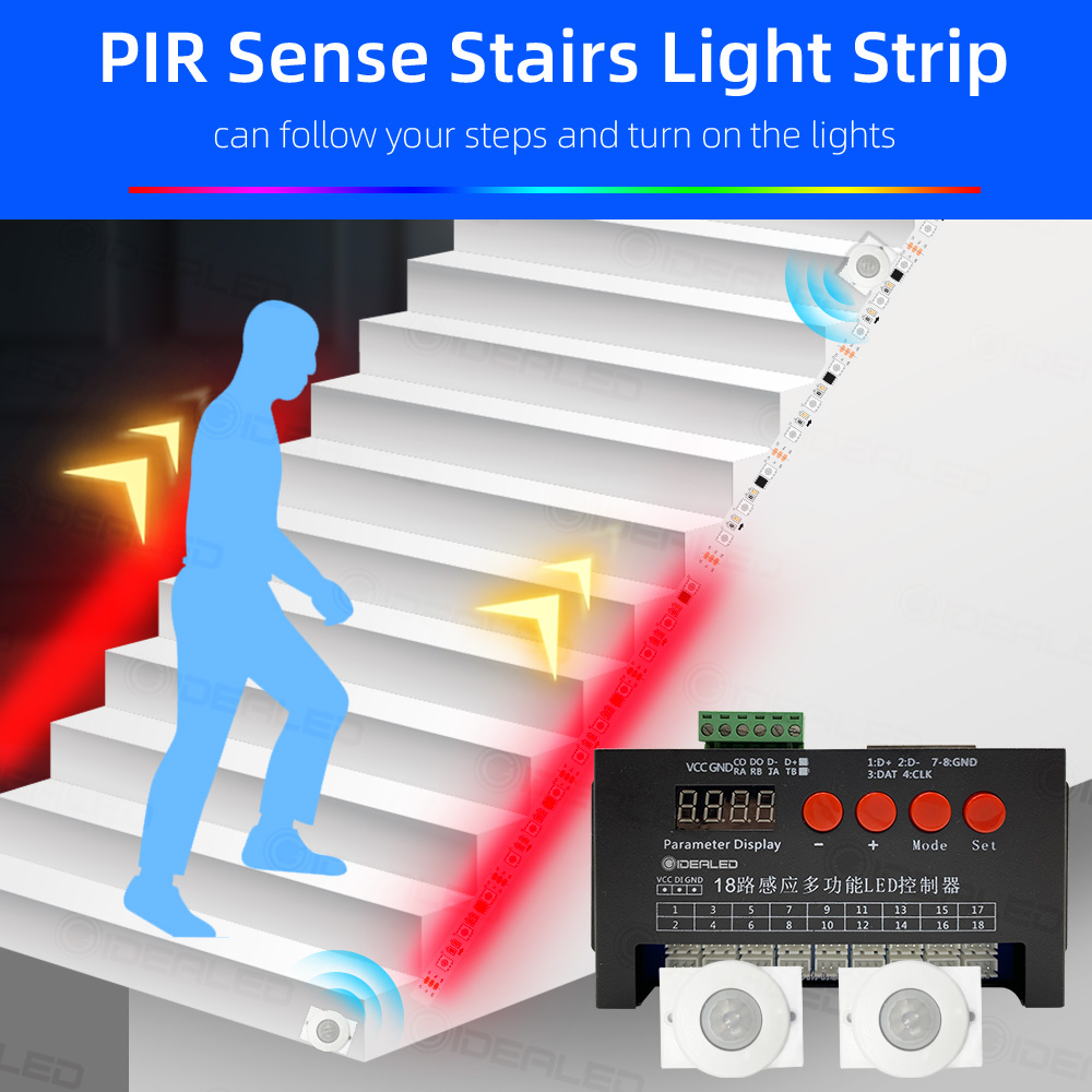 LED motion sensor light strip Stair streamline light under cabinet night light Addressable LED RGB Strip Lights for the stair