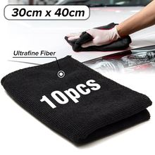 10pcs Car 30x40cm Black Care Polishing Wash Towels Microfibers Car Detailing Cleaning Soft Cloths Home Window