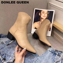 Women Short Boots Black Winter Chelsea Boots Zipper Ankle Boots For Women Brand Chaussure Low Heel Pointed Toe Casual Shoe Women цена 2017