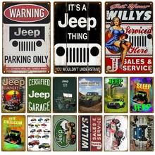 Jeep Service Car Plaque Metal Vintage Tin Sign Shabby Chic Decor Metal Signs Vintage Bar Decoration Metal Poster Pub Metal Plate
