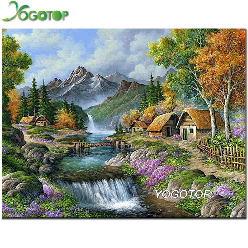 DIY elmas boyama köyü dağ nehir doğal peyzaj tam elmas nakış seti ev dekorasyon 5D mozaik sanatı YY2494