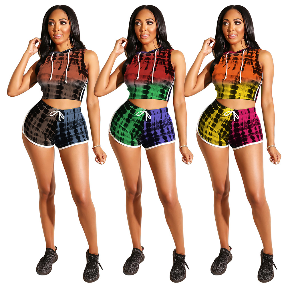 Fashion Gradient Hooded Sports Suit Luxury Tights Shine Birthday Party Club Banquet Nightclub Jacket Shorts