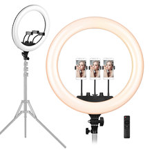 18 Inch LED Ring Light Photography Lighting 3200K 5600K Stepless Dimmable with 3 Phone Holders Remote Control for Live Streaming