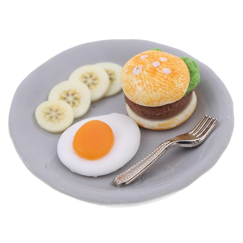 Mini Simulation Hamburger Egg Dish With Tray 1:12 Miniature Breakfast Set Dollhouse Kitchen Food Accessories