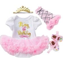 1 год для маленьких девочек платье на день рождения для девочек на первый день рождения, нарядное платье-пачка ясельного возраста; Розовая О...