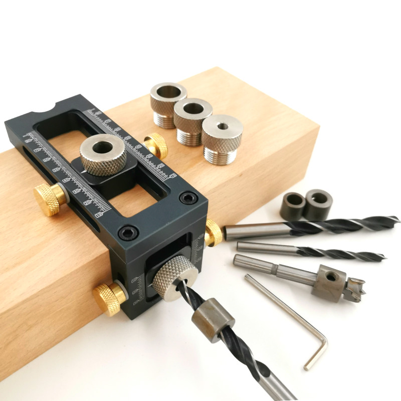 Hole Head Furniture Puncher Jig Carpentry Hole Pocket Flat Concealed Locator Doweling Connecting Jig Tools Cross For DIY